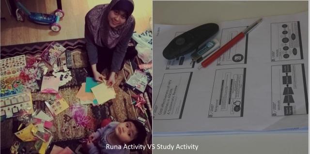 Aktivitas bersama Runa dan tugas kuliah