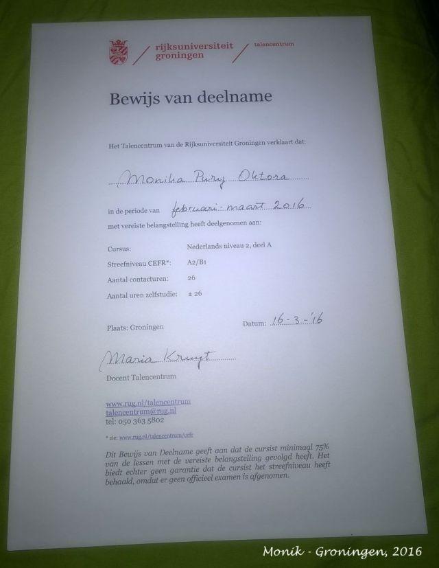Certificate Nederlands Course Niveau A2-B1