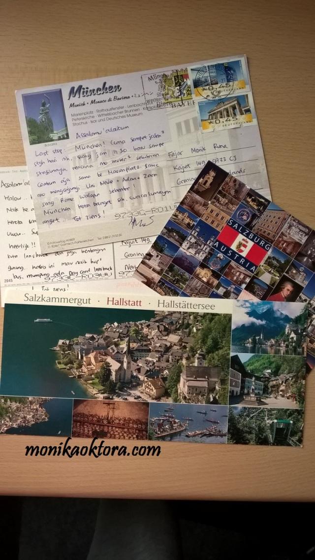 Postcards dari kota-kota yang kami kunjungi, Salzburg, Hallstatt, Innsbruck, dan Munich.