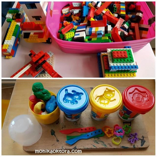 Atas: bermain lego. Bawah: bermain playdough